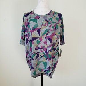 LulaRoe Purple and Gray Irma T Shirt Women's XXS